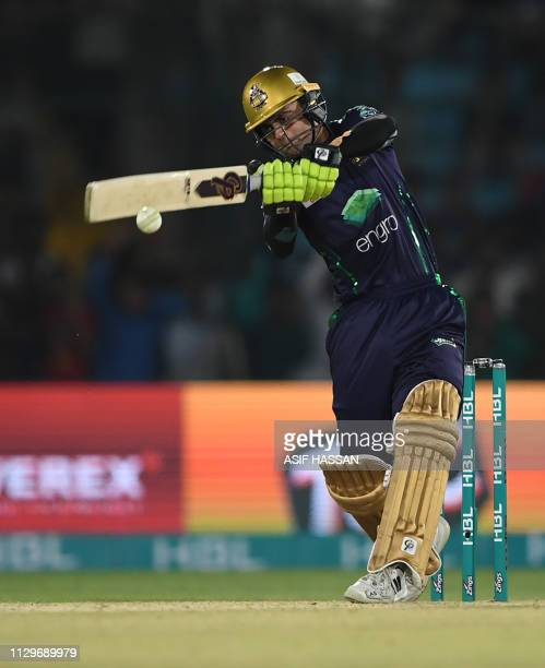 Cricketer Ahmed Shahzad of Quetta Gladiator runs out during the second match of the last eight matches of its domestic Twenty20 League in the...