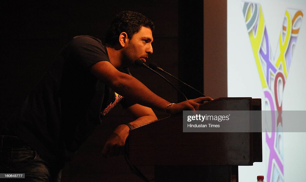 Cricketer and cancer survivor Yuvraj Singh addressing people in a program on World Cancer Day on February 4, 2013 in Gurgaon, India.