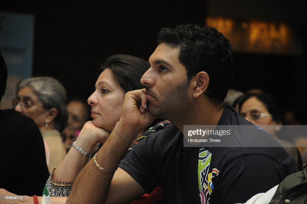 Cricketer and cancer survivor Yuvraj Singh and his mother Shabnam Singh in a Cancer survivor program on World Cancer Day on February 4, 2013 in Gurgaon, India.