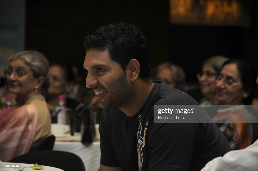 Cricketer and cancer survivor Yuvraj Singh in a Cancer survivor program on World Cancer Day on February 4, 2013 in Gurgaon, India.