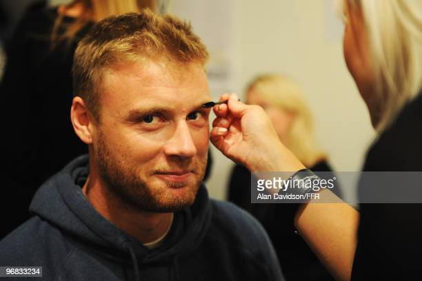 Cricketer Andrew Flintoff has his make up done backstage during Naomi Campbell's Fashion For Relief Haiti London 2010 Fashion Show at Somerset House...