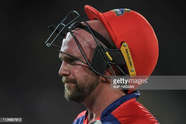 Cricketer Ben Dunk of Karachi Kings looks on during the second match of the last eight matches of its domestic Twenty20 League in the National...