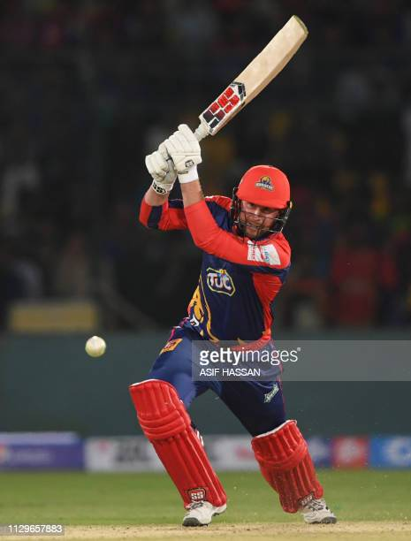 Cricketer Ben Dunk of Karachi Kings plays a shot during the second match of the last eight matches of its domestic Twenty20 League at the National...