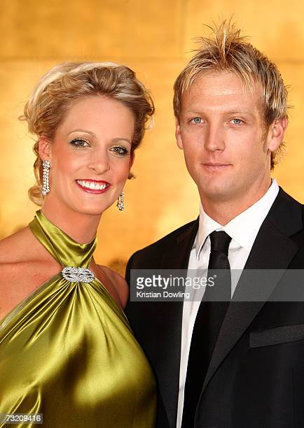 Cricketer Cameron White and partner Jacqui Morris arrive at the 2007 Allan Border Medal at Crown Casino on February 5 2007 in Melbourne Australia