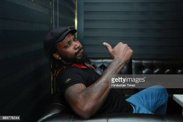 Cricketer Chris Gayle during special dinner for Royal Challengers Bangalore teammates by Virat Kohli at his new restaurant Nueva RK Puram on May 12...