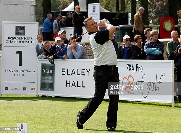 Cricketer Darren Gough plays in the Freddy versus Harry Match during the ProAm for the the De Vere Club PGA Seniors Championship played at the...