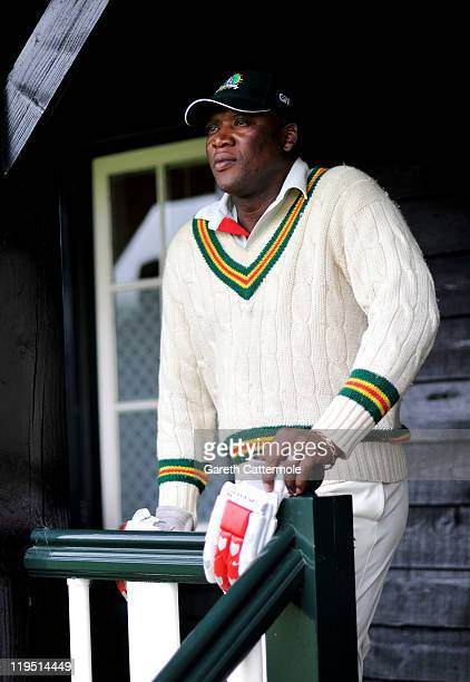 Cricketer Devon Malcolm attends an exclusive cricket day in the idyllic surroundings of the Getty family estate at Wormsley Buckinghamshire on July...