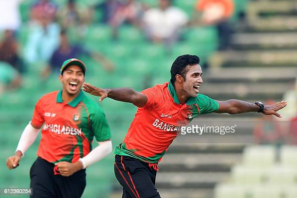 BCB XI cricketer Ebadat Hossain celebrates the dismissal of England cricketer Jason Roy during the warmup cricket match between England and...