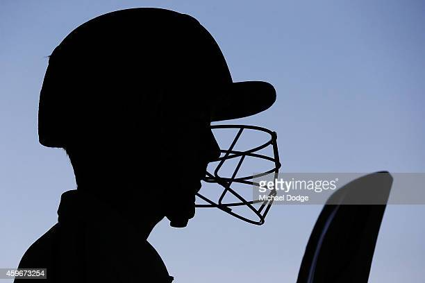A cricketer for Langwarrin U/16 is seen wearing a helmet after a match that was played against Mount Eliza and was dedicated to Phil Hughes at Lloyd...