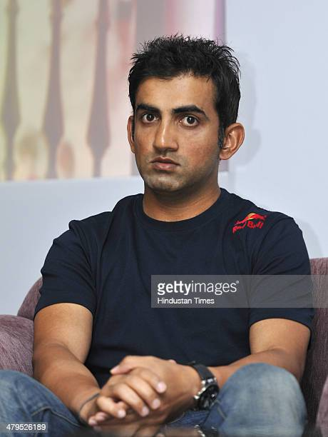 Cricketer Gautam Gambhir during an event to announce the Wings for Life World Run in India on March 19 2014 in New Delhi India The Wings for Life...