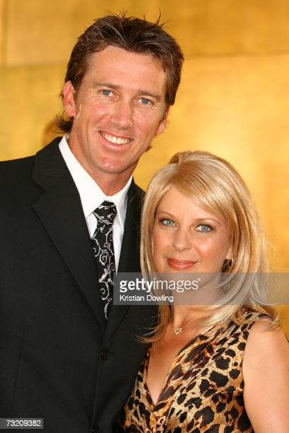 Cricketer Glen McGrath and his wife Jane McGrath arrive at the 2007 Allan Border Medal at Crown Casino on February 5 2007 in Melbourne Australia