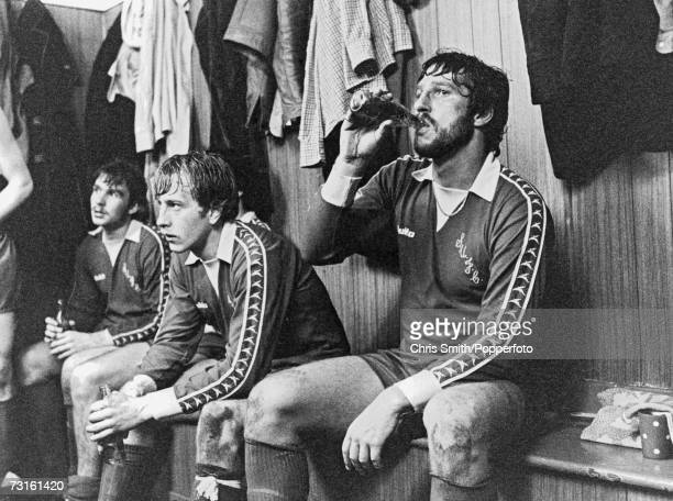 Cricketer Ian Botham in the dressing room at half time during an appearance for football team Scunthorpe United circa 1980 Botham played for the team...