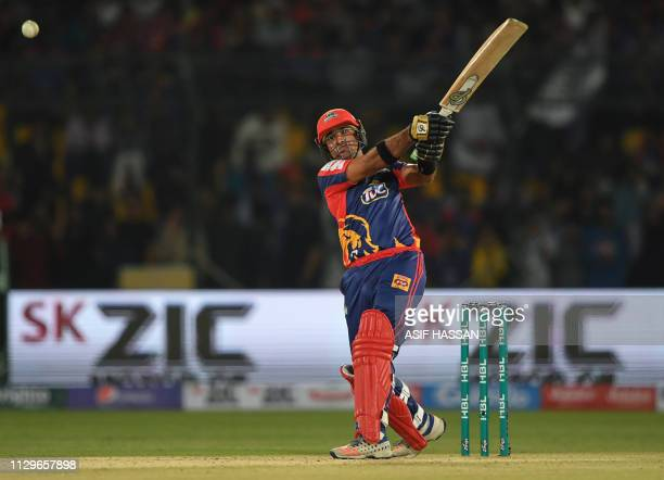 Cricketer Iftkhar Ahmed of Karachi Kings plays a shot during the second match of the last eight matches of its domestic Twenty20 League in the...