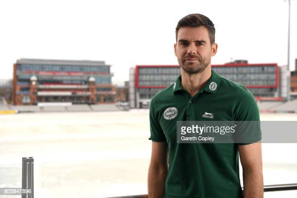 Cricketer James Anderson poses for a portrait during a Brut Media Day at Lancashire County Cricket Club on March 1 2018 in Manchester England