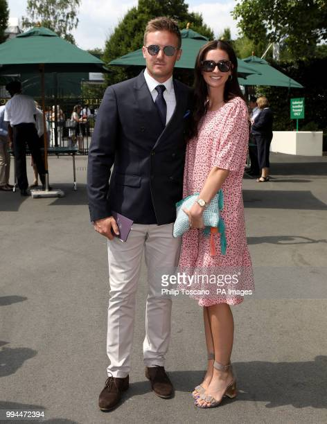 Cricketer Jason Roy and Eloise Roy arrive on day seven of the Wimbledon Championships at the All England Lawn Tennis and Croquet Club Wimbledon