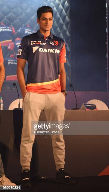Cricketer Manjot Kalra during the launch of new team jersey of Delhi Daredevils for the year 2018, on March 7, 2018 in New Delhi India, India.