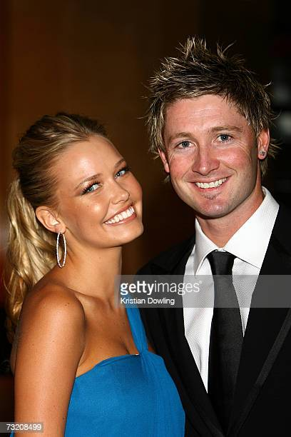Cricketer Michael Clarke and partner and model Lara Bingle attend the 2007 Allan Border Medal at Crown Casino on February 5 2007 in Melbourne...