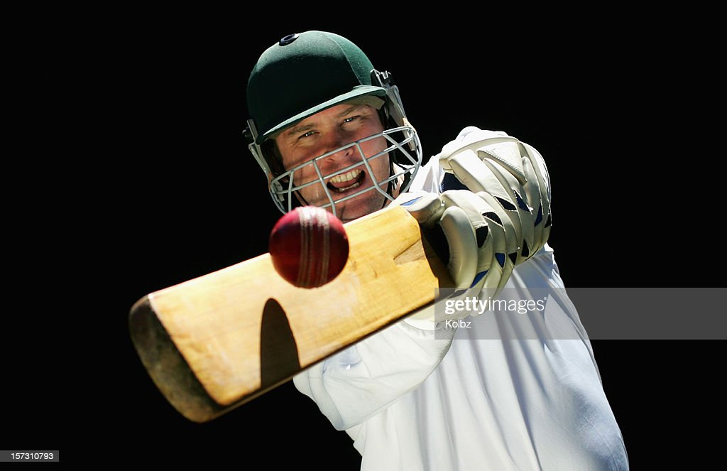 Cricketer Playing a Shot : Stock Photo
