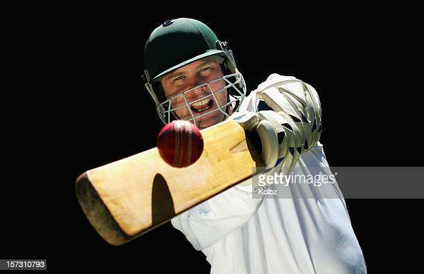 cricketer playing a shot - cricket stockfoto's en -beelden
