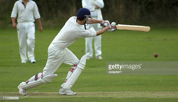 cricketer playing cut shot - cricket stockfoto's en -beelden