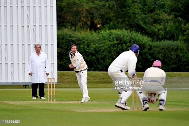 Cricketer Richard Illingworth bowls during an exclusive cricket day in the idyllic surroundings of the Getty family estate at Wormsley...