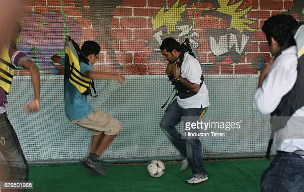 Cricketer Robin Uttappa takes part in a game of bungee soccer at the Chitrakoot grounds at andheri Mumbai