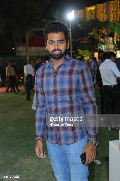 Cricketer Shivam Sharma during the wedding reception of Indian cricketer Parvinder Awana and Sangit Awana at Shiv Garden on March 10 2018 in Greater...