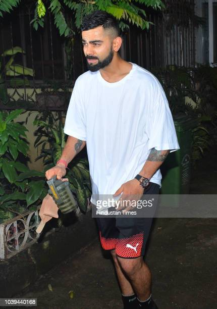 Cricketer Virat Kohli spotted outside his gym in Bandra on September 20 2018 in Mumbai India