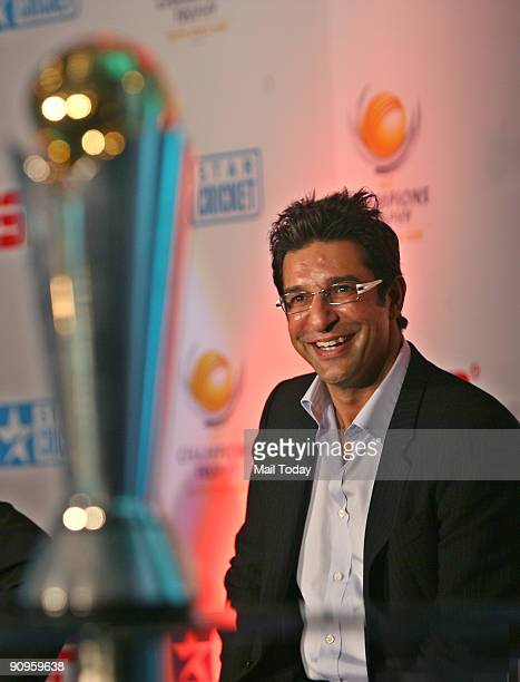 Cricketer Wasim Akram poses during a press conference for ICC Champions trophy in New Delhi on Thursday September 17 2009