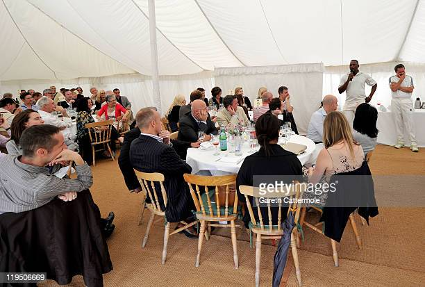 Cricketers Devon Malcolm and Richard Illingworth speak during an exclusive cricket day match in the idyllic surroundings of the Getty family estate...