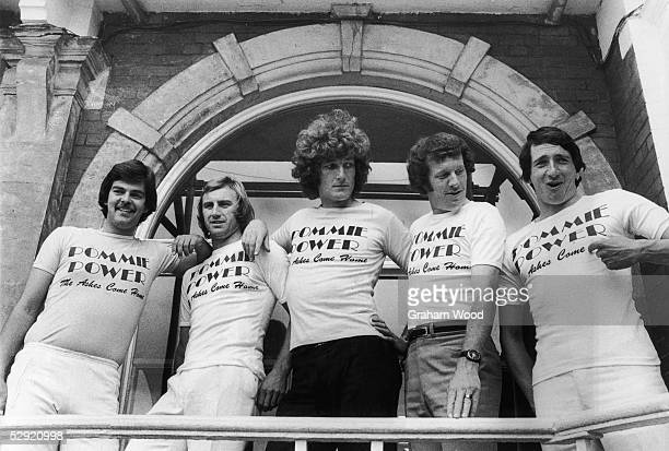 Cricketers from the England team wearing tshirts made for The Ashes series before the 5th Match at the Oval the Ashes had already been worn during...