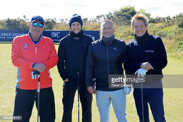 Cricketers Ian Botham, Joe Root, Darren Gough and Mark Nicholas pose for a photograph during a practice round ahead of The Alfred Dunhill Links...