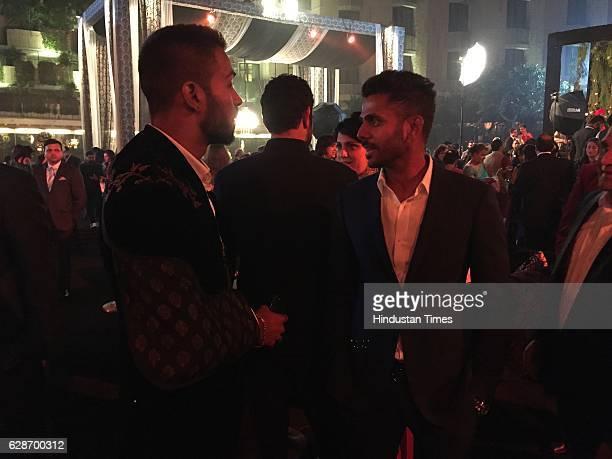 Cricketers Manoj Tiwary and Hardik Pandya during the wedding reception of Indian Cricketer Yuvraj Singh and Bollywood actor Hazel Keech at ITC Maurya...