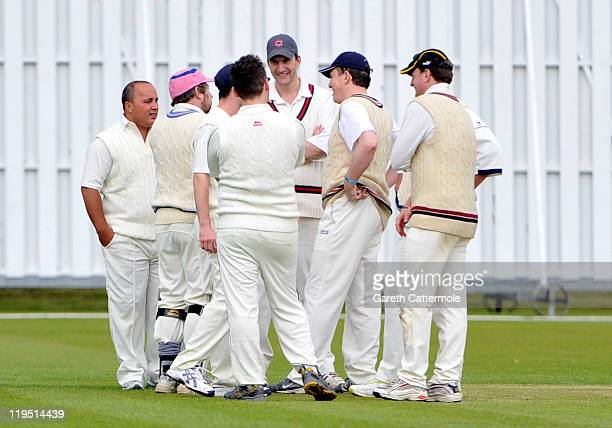 Cricketers on field during an exclusive cricket day in the idyllic surroundings of the Getty family estate at Wormsley Buckinghamshire on July 21...