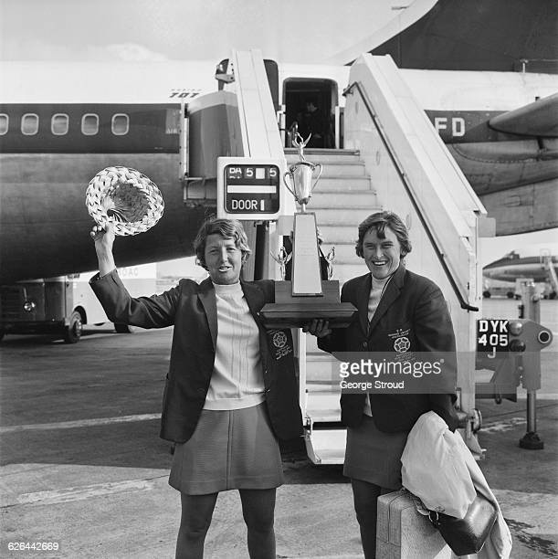 Cricketers Rachael Heyhoe Flint and Lynne Thomas at London Airport on their return from the West Indies 4th March 1971 They are holding the Pearl And...