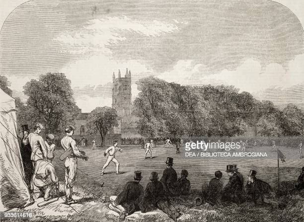 CricketMatch between Eton and Winchester Colleges at Winchester England United Kingdom illustration from the magazine The Illustrated London News...