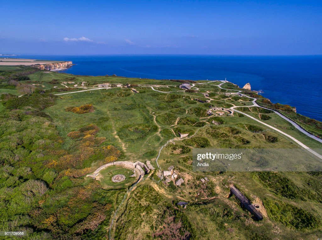 Cricqueville-en-Bessin (Normandy, north-western France): The Pointe du Hoc headland, site of the landing operations of the Allied invasion of Normandy on June 6, 1944 (D-Day).