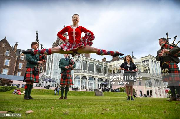 Crieff Hydro Hotel CEO Stephen Leckie and his sons Richard and Charlie play the bagpipes alongside daughter Louisa on the snare drum and highland...