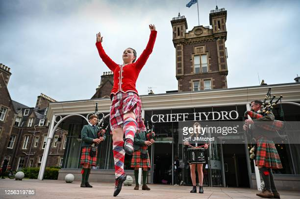 Crieff Hydro Hotel CEO, Stephen Leckie and his sons, Richard and Charlie play the bagpipes alongside daughter Louisa on the snare drum and highland...