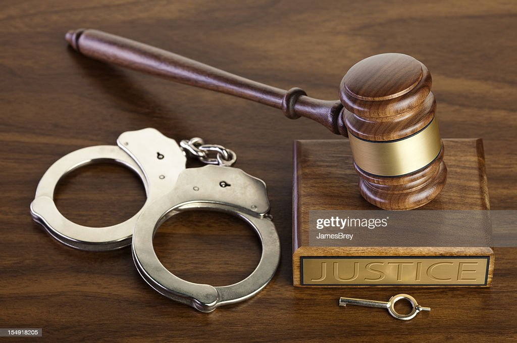 Crime and Punishment; Gavel With Handcuffs, Key : Stock Photo