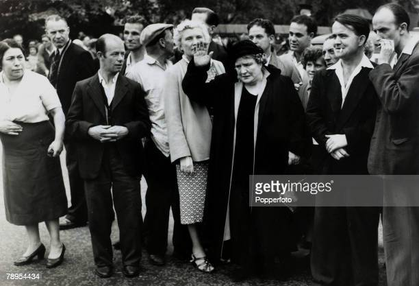 12th July 1955 Holloway London Mrs Van der Elst centrea famous campaigner against capital punishment with a crowd outside the prison Ruth Ellis was...