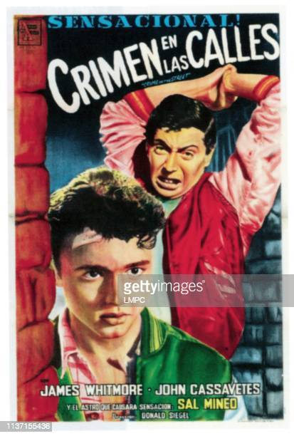 Crime In The Streets poster from left Sal Mineo John Cassavetes on Spanish poster art 1956