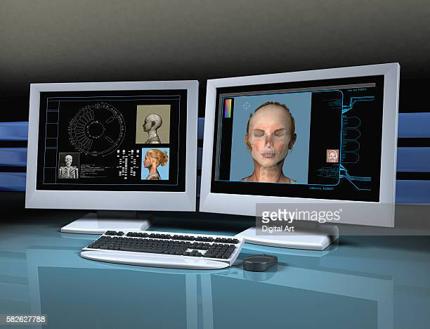 Crime Lab Computer Displaying Person's Face and Information