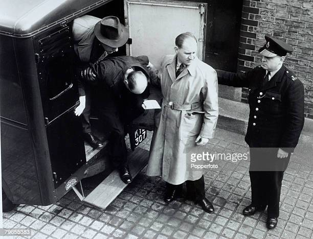 Crime London England The Christie Murder case John Reginald Halliday Christie arrives with head bowed from a Police van at West London Magistrates...
