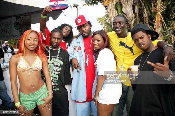 Crime MobTrick Daddy and Akon during Miami Spring Fest 2005 at BayFront Park in Miami Florida United States