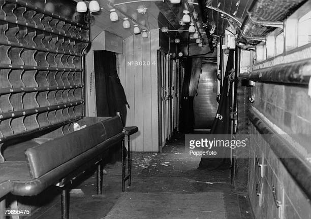 August 1963 The interior of the Royal Mail travelling post office carriage from which over 25 million was stolen The Great Train Robbery took place...