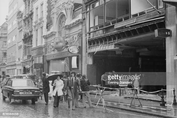 Crime scene at military outfitters Gieves at 27 Old Bond Street after a bomb planted by the Provisional IRA's Balcombe Street Gang exploded 27th...