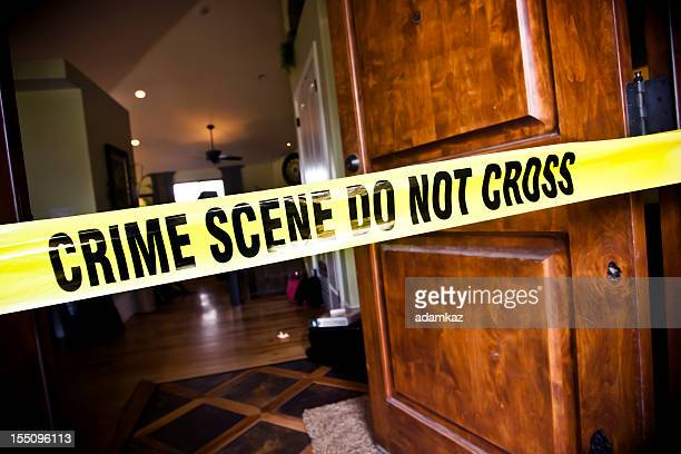 crime scene at residential home - cordon tape stock pictures, royalty-free photos & images