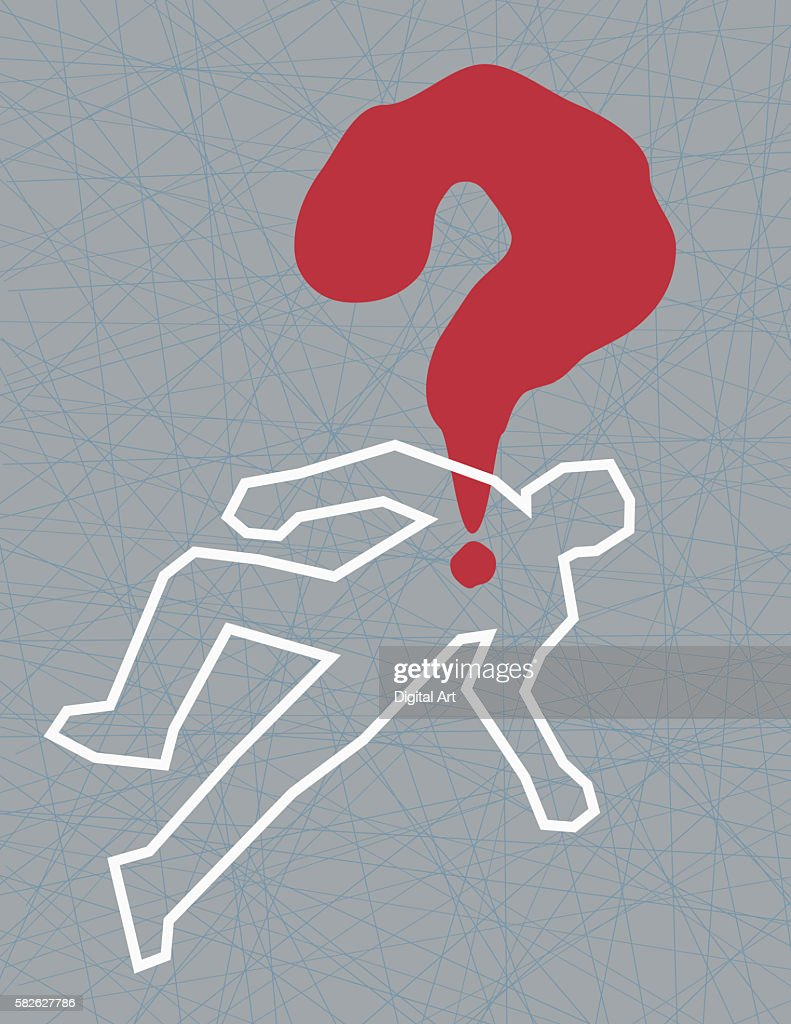 Crime Scene Body Outline With Bloody Question Mark : Stock Photo