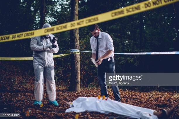 Crime scene in forest
